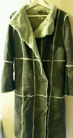 Real leather long coat from Kookai size 14 only £20