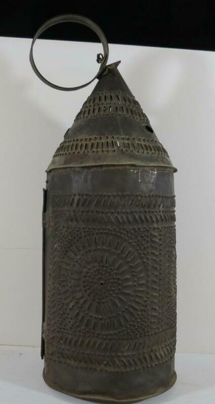 "Antique 18th/19th Century Pierced Tin Lantern - 15"" Tall"