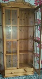 Pine display unit cabinet