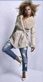 LIPSY Fleur East Faux Shearling Wrap Coat