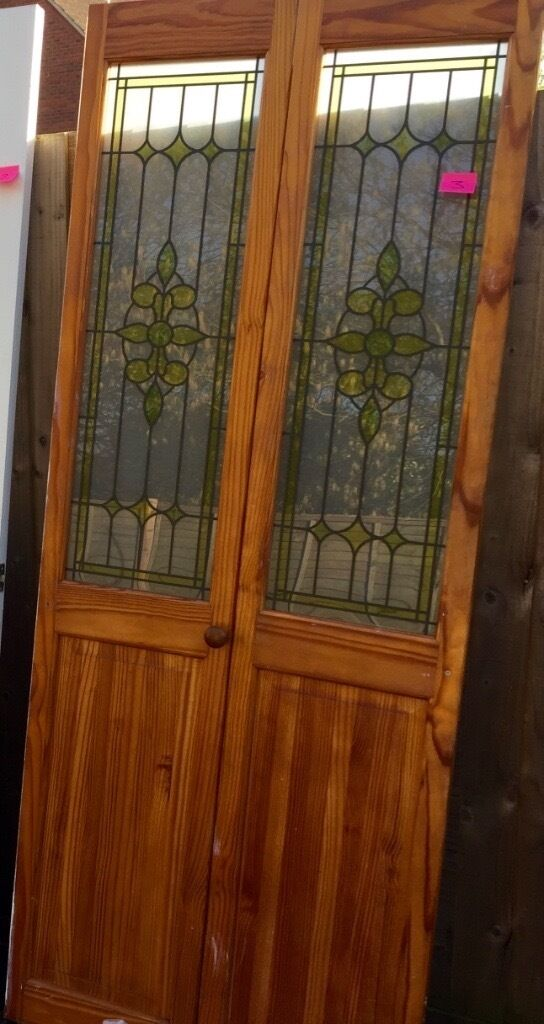 1930s Bi Folding Internal Door Stained Glass Windows In