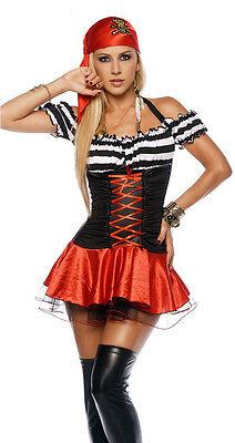 Sexy Pirate Women Cosplay Costume Red Black Dress w Bandana Party Halloween
