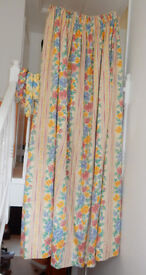 Pair of long curtains with two sets matching tie-backs and removeable poly-cotton linings £20 ONO