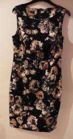 Black and gold patterned FF dress size 10 as new worn once