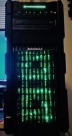 New and Boxed Green LED Quad Core Gaming PC with 1 new Game and Windows 10 Pro