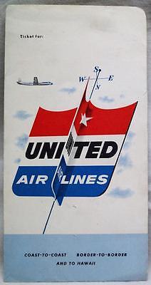 United Airlines Passenger Ticket Folder 1954 Vintage Aviation Travel