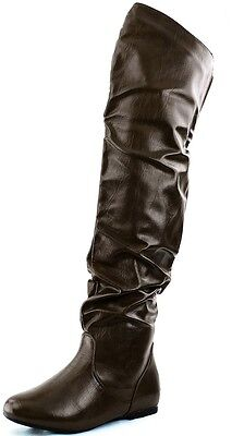Low Heel Thigh High Boot - DailyShoes Fashion Hi Over the Knee Thigh High Flat Slouchy BROWN Low Heel Boot