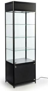 NEW 78 IN GLASS RETAIL  DISPLAY CABINET LED CORNER DISPLAY SHOWCASE YJ035A