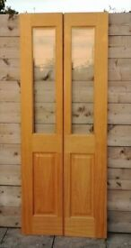 NEW Pair Light Oak Wooden Doors Rebated/Panelled With Bevel Glass: H:196cm x W:76cm (Ready To Hang)