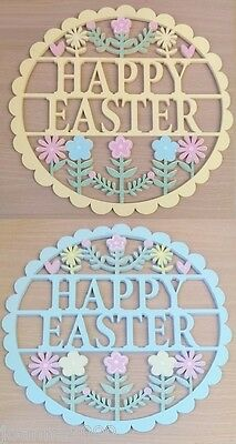 GISELA GRAHAM WOODEN FRETWORK HAPPY EASTER GLITTER WALL PLAQUE DECORATION GIFT