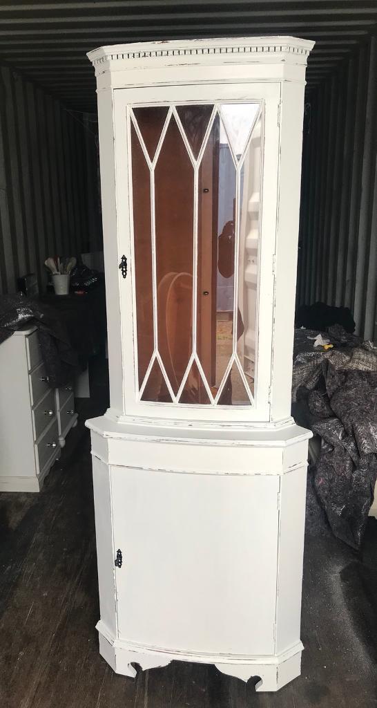 White Shabby Chic Corner Cabinet