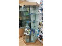 Tempered glass Display Lockable cabinet Hexagon Shaped come with 3 LED lights