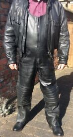 Black leather trousers bib with free old leather jacket