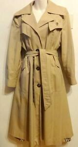 WOMENS Vintage Made in Canada RAINCOAT 1960s 1970s Slim Fit SMALL Beige Trench