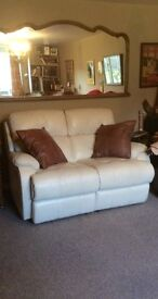 CREAM LEATHER DOUBLE ADJUSTABLE LEATHER SOFA