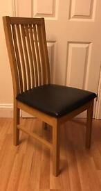 6 Paris Collection Oak and Black Leather Dining Chairs