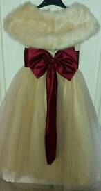 Flower girl dress, tight and fur wrap aged 5