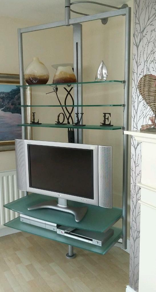 Swivel With Glass Floor To Ceiling Tv Stand