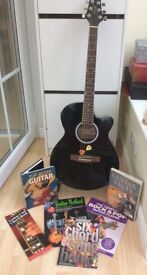 Stagg Guitar with stand and books