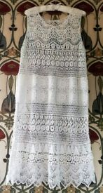 BOHO IVORY WHITE CROCHET DRESS PATCHWORK Top Beach Tunic Embroidered Sleeveless Cotton Size: S/M