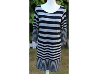 Marks & Spencer Autograph Weekend Navy Mix Striped Dress UK14
