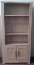 NEW Schreiber Double Bookcase In Lightly Whitewashed Rustic Oak with Two Door Cupboard