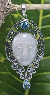 Mother Of Pearl Goddess Pendant - Handmade Sterling Silver .925 Bali Mother Of Pearl Goddess Face Pendant w Gem