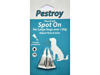 2 pack x4 Pestroy flea and tick spot on for large dogs over 15 kg
