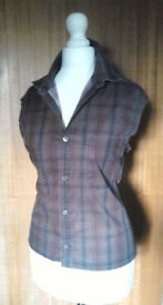 Ladies Rocha John Rocha Ladies Purple Checkered Sleeveless Festival Blouse Shirt.Size S.