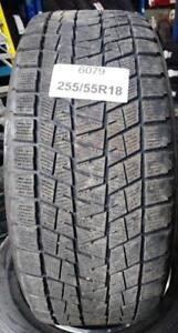 PNEUS HIVER USAGÉS / USED WINTER TIRES 255/55R18 25555R18 109R BRIDGESTONE BLIZZAK DMV1