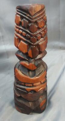 Tiki Vintage Hand Carved Wood Wooden Carving Totem Pole Statue Hawaiiana Hawaii](Tiki Pole)
