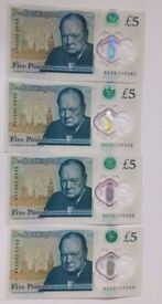 New 5 Pound Note*Rare Four AA consecutive serial numbers!