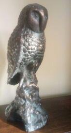 Barn Owl Ornament Garden Statue Cast Iron Bronze Effect