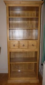 solid oak bookcase with draws (purchased from AHF ) VGC