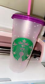 Starbucks and Halloween tumblers with lid and straw