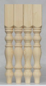 Set of 4 Solid Pine Farmhouse Table Legs, Ex 4