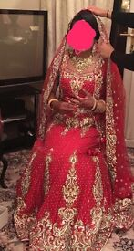 Women's Asian Bridal Dress Lengha Red Skirt Top Scarf Heavy Detailed Gold/Silver