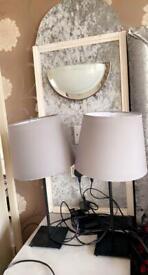 Black & grey side table lamp (pair)