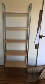 Freestanding beech and chrome effect shelving unit - VERY GOOS CONDITION
