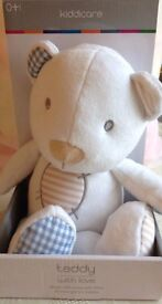 """New Boxed Soft Kiddie care Plush Teddy Bear.Suitable From Birth.White 9"""" Tall.£3 OR TWO FOR £5"""