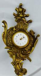 Antique French gild bronze Rococo verge fusee calendar wall clock c1800's