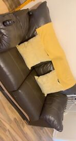 2x 2 seater brown leather sofas