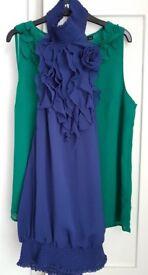 Oasis Green Top & Asos Royal Blue Top Both Size 12