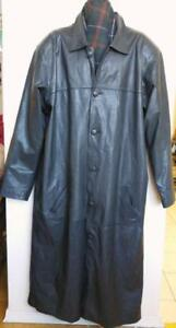 Oakville Mens XXL 50 52 54 2x 3x TALL BLACK LEATHER TRENCH COAT $1500 Custom-made Long Sleeves Jacket GOTH Excellent