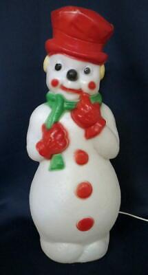 "Vtg 22"" Tall 1973 Carolina Enterprises Happy Snowman Christmas Lighted Blow Mold"