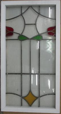 """OLD ENGLISH LEADED STAINED GLASS WINDOW Funky Geometric Design 22/"""" x 15/"""""""