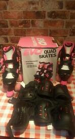 Childrens roller skates and protective pads