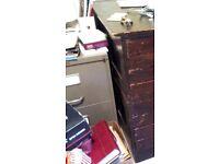 2 drawer 60s metal filing cabinet