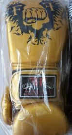 Furiousfistsuk Synthetic Leather 14oz Training Gloves Gold Color