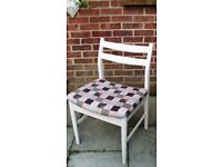 Lovely Retro /Dining/Living/Bedroom Chair Painted in Antique White/Grey or Cream & reupholstered